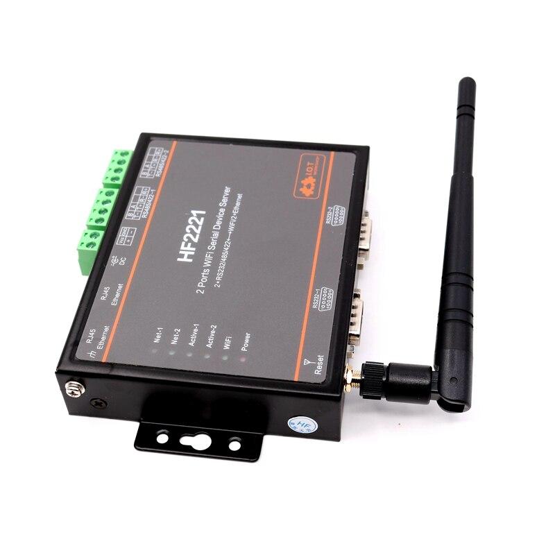 2 Ports WIFI périphérique série serveur RS232 RS485 RS422 aller à WIFI tcp/ip Ethernet