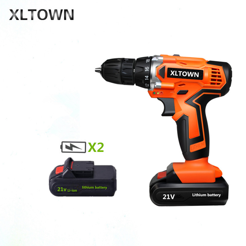 XLTOWN 21V electric screwdriver home cordless hand electric drill rechargeable lithium battery electric screwdriver Power Tools free shipping brand proskit upt 32007d frequency modulated electric screwdriver 2 electric screwdriver bit 900 1300rpm tools