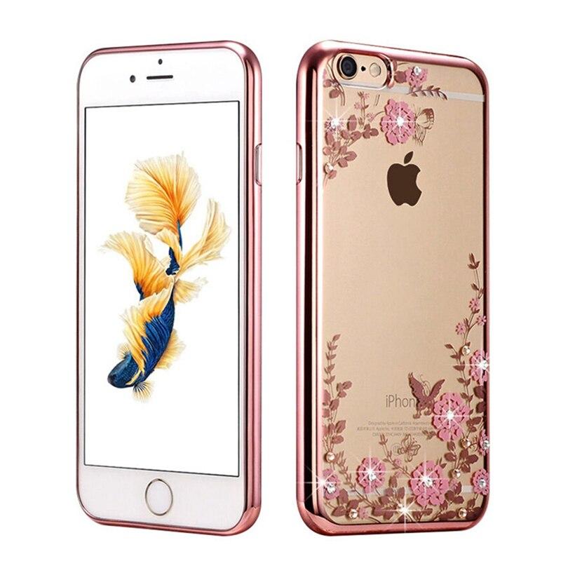 Lujo nueva piedras chapado case de silicona suave para el iphone 5s casos 6 5 6