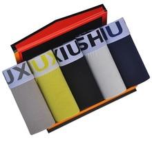 DEWVKV 5Pcs/lot Brand Mens Underwear Cotton Man Big Short Colorful Breathable Solid Flexible Shorts Boxer Pure Color Underpants