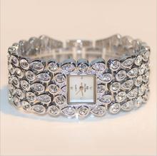 купить 2015 Hot Sales Women Full Rhinestone Watches Lady Shining Dress Watch Square Rose Gold Bracelet Wristwatch Ladies diamond Watch по цене 1030.38 рублей