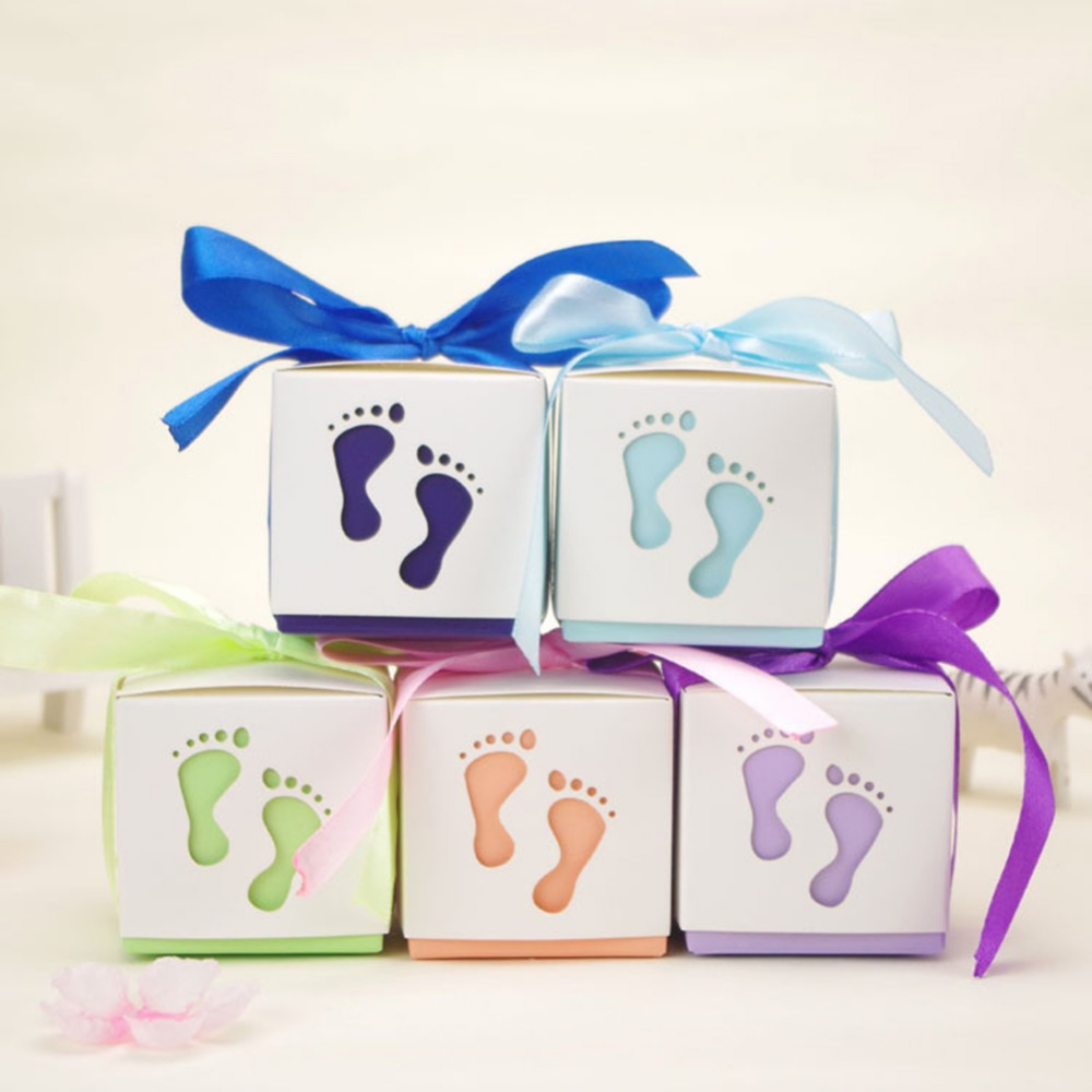 10pcs Lovely baby Feet foot Laser Cut out Baby Shower Favor Gift Candy Box Gift Boxes For Boy Girl Birthday Party Favors Gift-in Storage Boxes & Bins ...