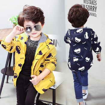 70-120cm 2019 Autumn Jacket Boys Girls Kids Outerwear Cute Car Windbreaker Coats Fashion Print Canvas Baby Children Clothing 3