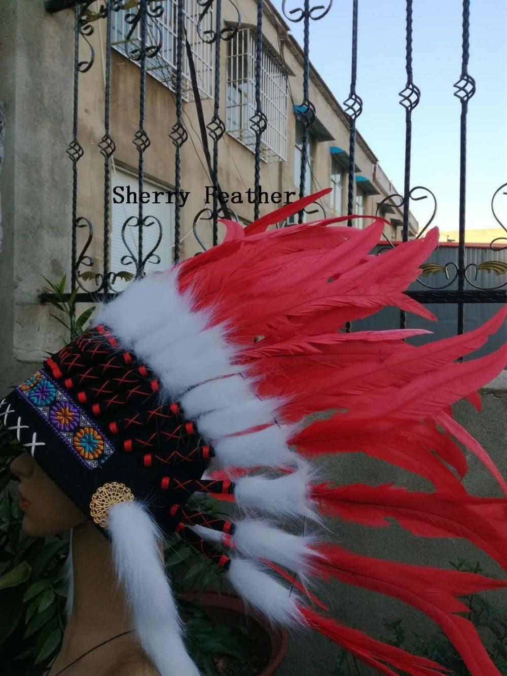 Czerwony ozdoba na głowę z piór kostium kapelusz z piór feather z pałąkiem na głowę na halloween dostaw w Pióro od Dom i ogród na  Grupa 1