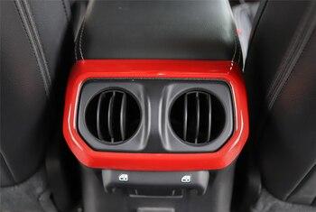 Décalcomanies Pour Jeeps | Couverture Intérieure De Décalcomanies De Garniture De Sortie D'air De Console Centrale Arrière De Voiture Adaptée Pour Jeep Wrangler JL 2018 Rouge/Fiber De Carbone/accessoires Argentés