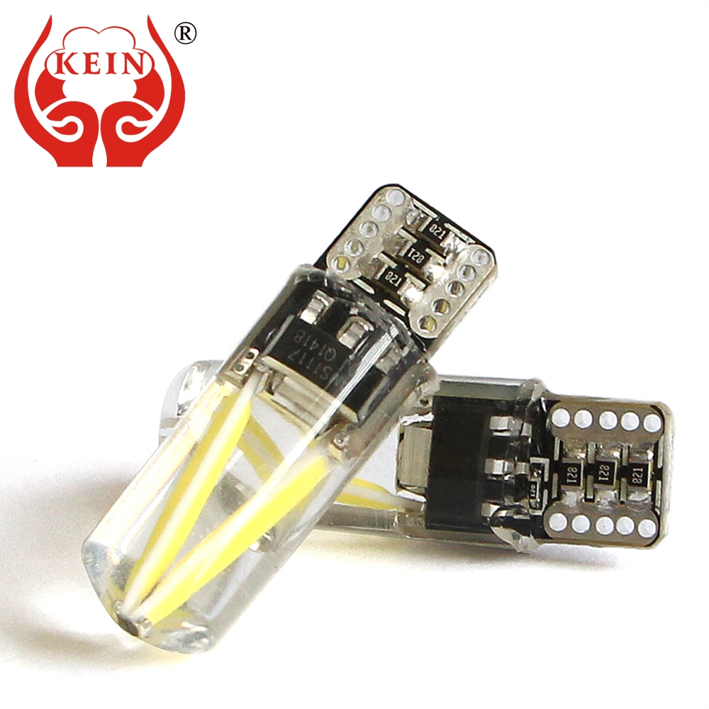 KEIN 10PCS Canbus T10 w5w LED light 194 silicone COB Auto car Filament interior Reading Lamp Side Wedge DRL fog parking bulb 12V 5pcs t10 led bulb 2w led car lamp 194 w5w canbus 6smd 5050 silicone shell no error led parking fog light auto car styling dc12v