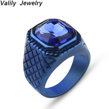 Valily Mens Blue Crystal Ring Vintage Rock Punk 316L Stainless Steel Black CZ Silver Gold Color Hip Hop Rings For Men Women