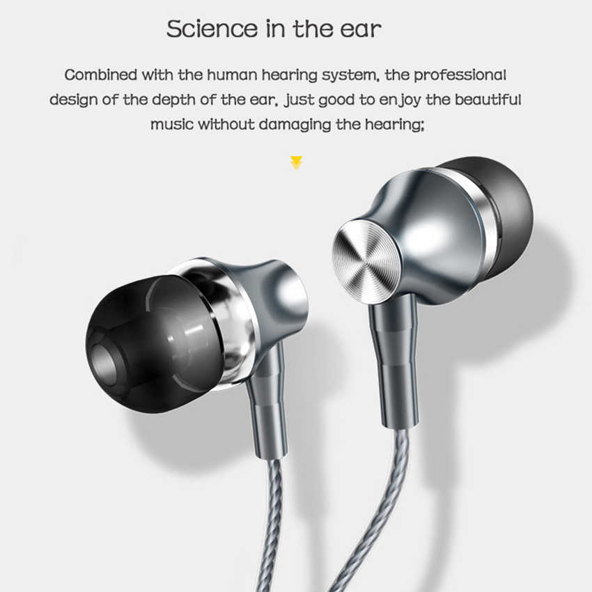 Drutu słuchawki subwoofer douszne strojenia 3.5MM kontrolą linii do jabłko proso Huawei uniwersalny telefon komórkowy słuchawki douszne