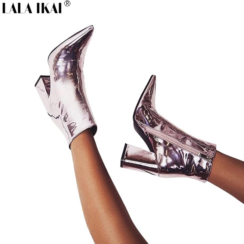 LALA IKAI Frauen Herbst Stiefel PU Leder Spitz Platz Ferse Gummi Stiefel Mode High Heel Frauen Schuhe XWN1631-45