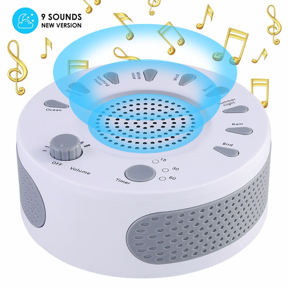 Portable White Noise Sound Machine Baby Light Sleep Therapy Regulator With 9 Plant Soothing Sound Baby Sleeping Monitor