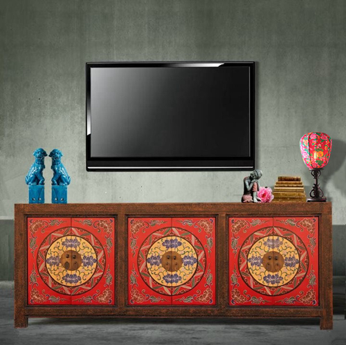 New Chinese Classical Furniture TV Cabinet Audio Visual Cabinet With Three  Hand Painted Painted