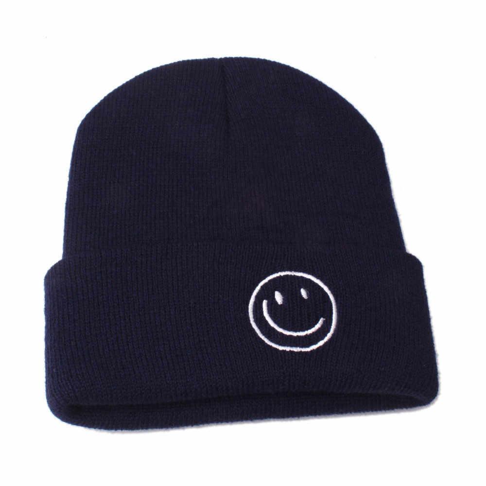 KANCOOLD الشتاء الأزياء محبوك كومفورابل ابتسامة الطفل القبعات متماسكة الدفء القبعات قبعة صغيرة كاب Skullies بيني الهيب البوب PJ1029