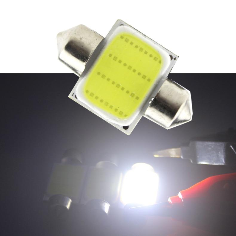 10pcs/lot 31mm/36mm/39mm/41mm C5W PLASMA COB LED White interior SMD Bulb DC12V Super Bright Car Light Source Dome head Lamp