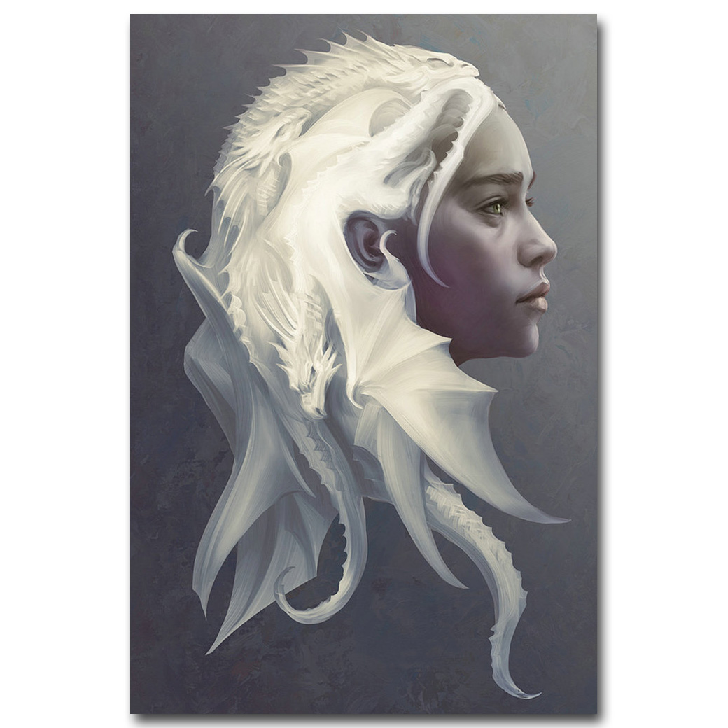 NICOLESHENTING Game of Thrones All Characters Art Silk Poster Print 12x18 24x36inch Daenerys Targaryen Wall Picture 048