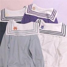 Cotton Hoodies Sailor-Collar Sweatshirt Halloween Cosplay Costume Cat Luna