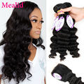 Mealid Malaysian Loose Wave With Closure Loose Wave 3 Bundles With Closure Malaysian Virgin Hair Human Hair With Closure