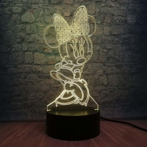 Image 5 - 3D LED Lamp Bedroom Minnie Mickey Stitch Table Night Light 7 Color Change Base Lamp Baby Bedroom Decor Kids Drop Shipping