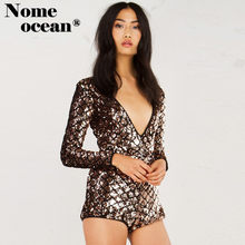 IM FEELING LOVE SEQUIN ROMPER Sexy V-neck Paillette Beading Playsuits  Shining Sequined Women Jumpsuits Skinny Shorts M17042602 09e500851