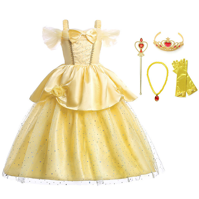 c54a5a7c6535 Aliexpress.com   Buy Princess Belle Long Dress for Girls Beauty and ...