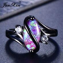 JUNXIN скидка 90! Радужные огненные опал кольца для женщин черное золото заполненные S волна кольцо маркиза камень лошадиный глаз Камень Обручальное кольцо