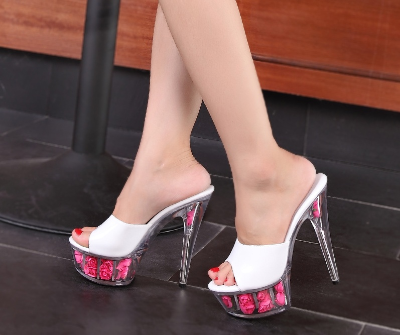 b72db7cfacea 15cm rose large size transparent soles sexy super high heels female cool  slides 4 14-in Women s Sandals from Shoes on Aliexpress.com