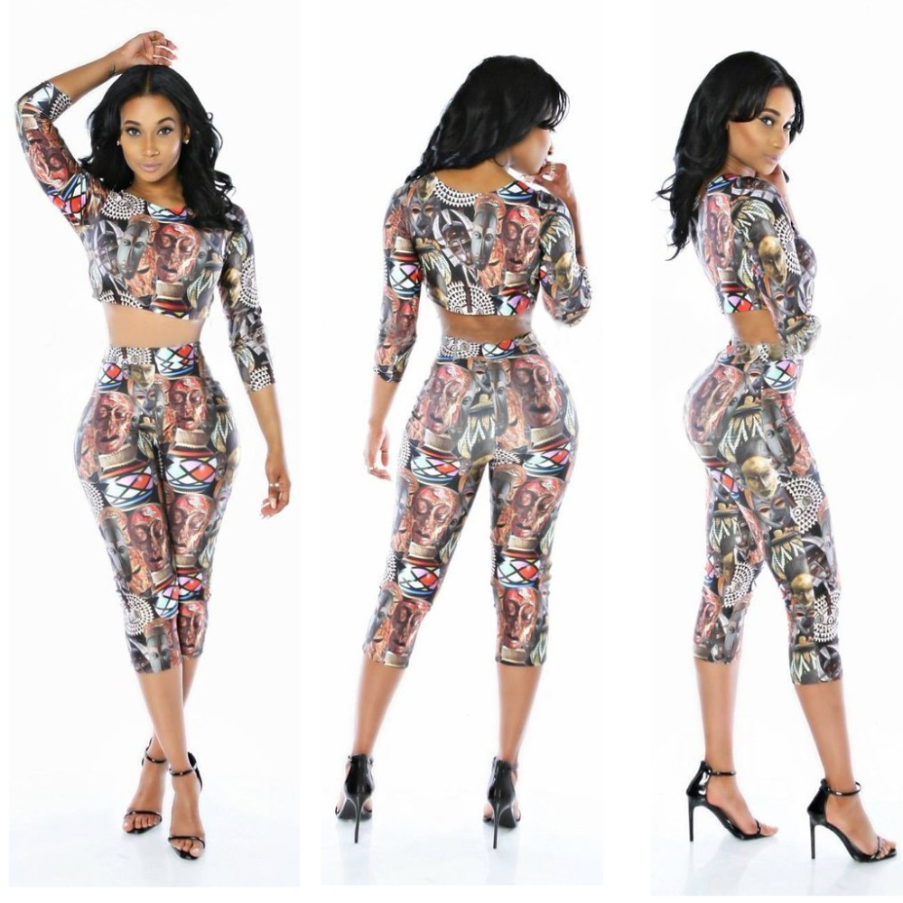 2018 Long Sleeve 2 Pieces Set Women Horror print Halloween Outfit Womens Crop Top And Pants Bodycon Sexy Two Pieces for Female in Women 39 s Sets from Women 39 s Clothing