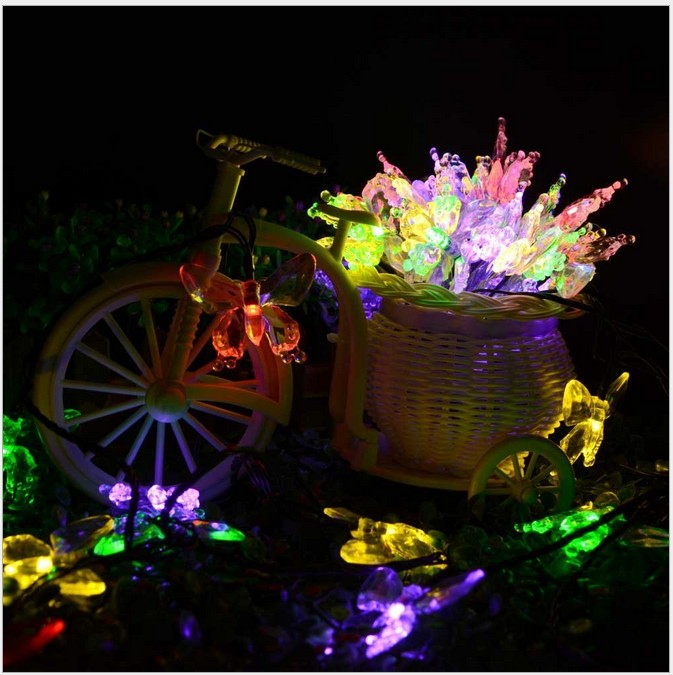 5M 20LEDs Solar Light Outdoor String Fairy Lights Crystal Butterfly Fairy Strip Lights Outside Garden Patio Party Christmas Lamp