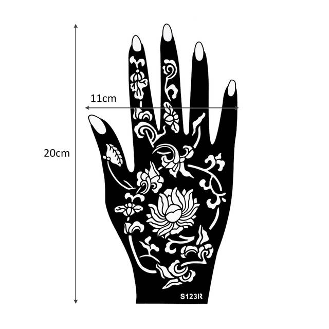 Online Shop 1 Pair Indian Henna Tattoo Stencil Flowers Pattern