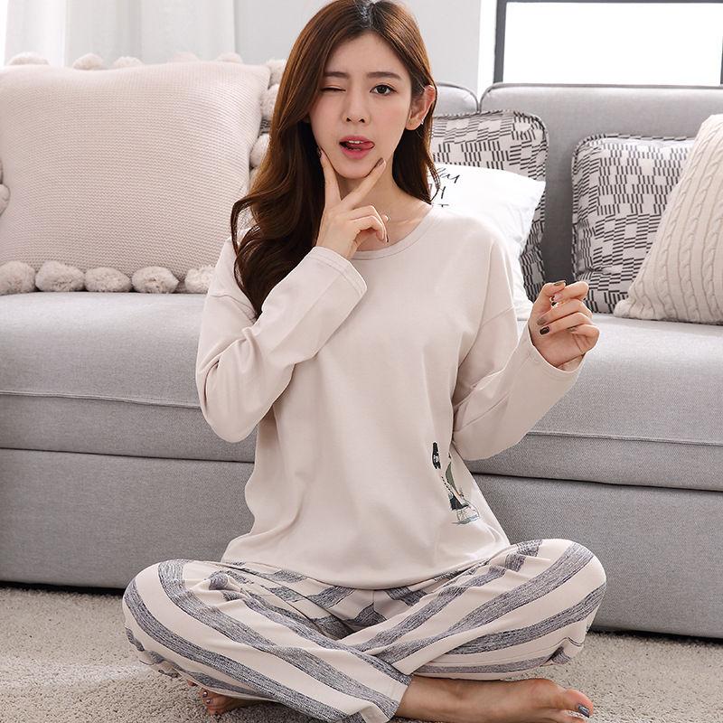 Пижама женская, с длинным рукавом и мультяшным принтом