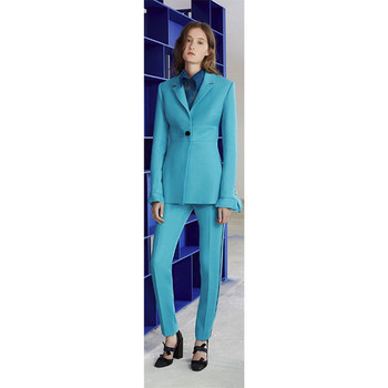 Jacket + pants women's business suit lake blue female office uniform ladies formal pants 2 piece set single buckle custom