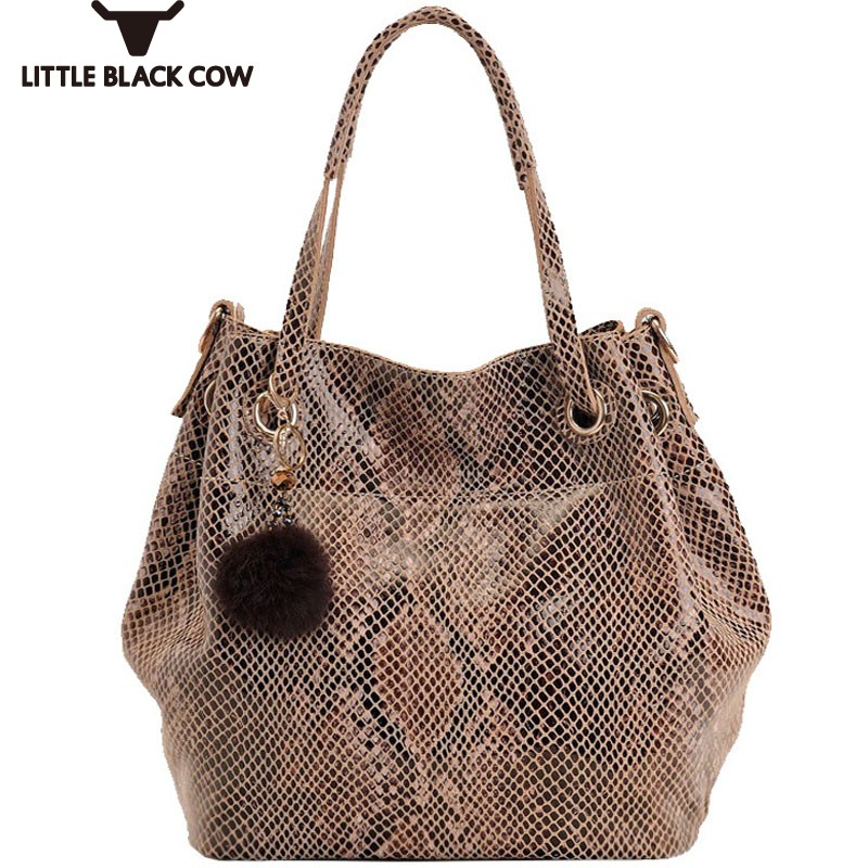 New Arrival Snakeskin Print Real Cow Leather Handbag Brand Tassel Bucket Women Bag Designer Top Tote Bags for Women Medium Size inc new pink paisley print studded cutout women s size medium m blouse $69 049