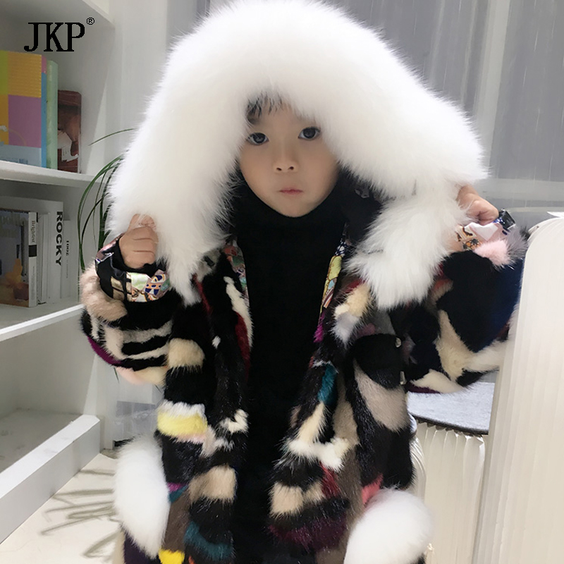 Children girl boy Mink Fur Jacket coat Kids Real Natural Mink fur coat Winter baby Mink Fur Coat mink keer 2 4xl