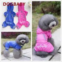 Nueva mascota perro ropa impermeable mono con sombrero verano lluvia día impermeable abrigo para perro gato mascota perro del impermeable s-XXL