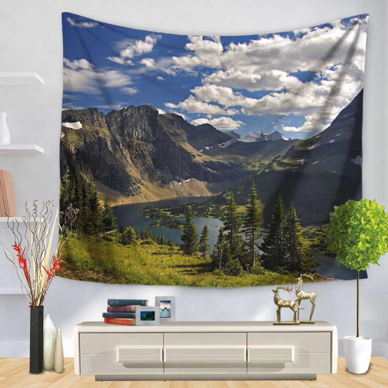 Home Decorative Wall Hanging Carpet Tapestry Rectangle Bedspread Nature Scenic Mountain River Pattern GT1265