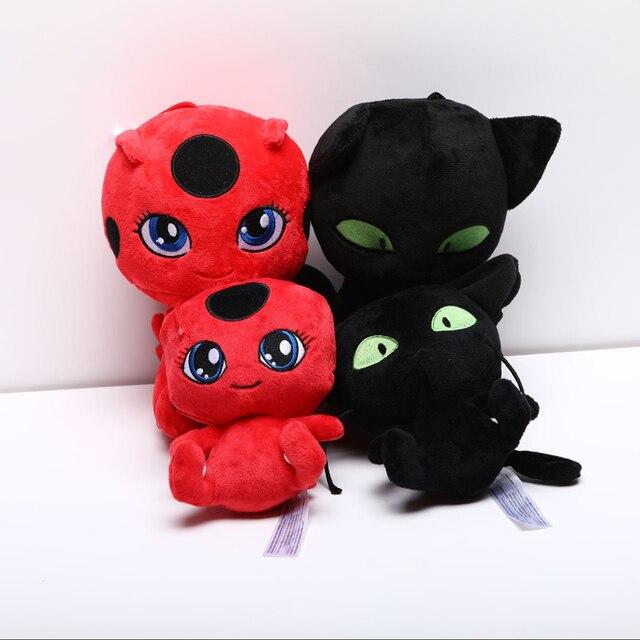 10 pçs/lote Filme Plagg & Tikki Joaninha Menina Gato Brinquedos de Pelúcia Boneca Pingente Clipe Chaveiro de Pelúcia Macia Dos Desenhos Animados do Anime de Pelúcia presentes do brinquedo