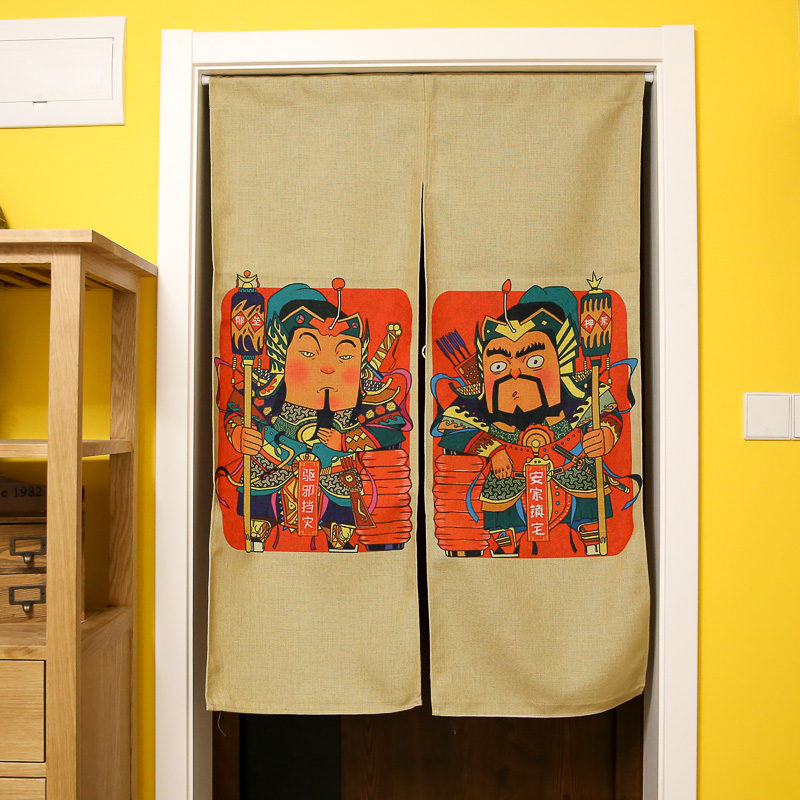 Creative Cotton Linen Door Curtains Cartoon Chinese Door God Prints Bedroom/Kitchen/Bathroom Partition/Dividers Home Decor-in Curtains from Home \u0026 Garden on ... : door god - pezcame.com