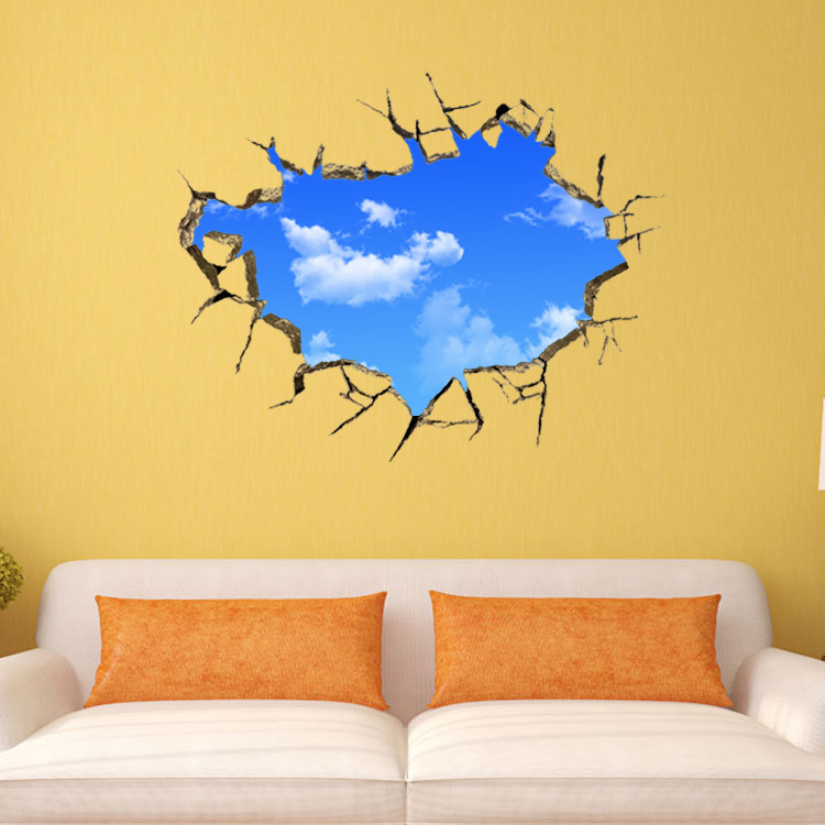 Free shipping 3d blue sky and white cloud scenery window for Stickers murali 3d
