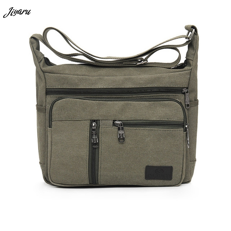 Men Canvas Single Strap Male Shoulder Bags Solid Casual
