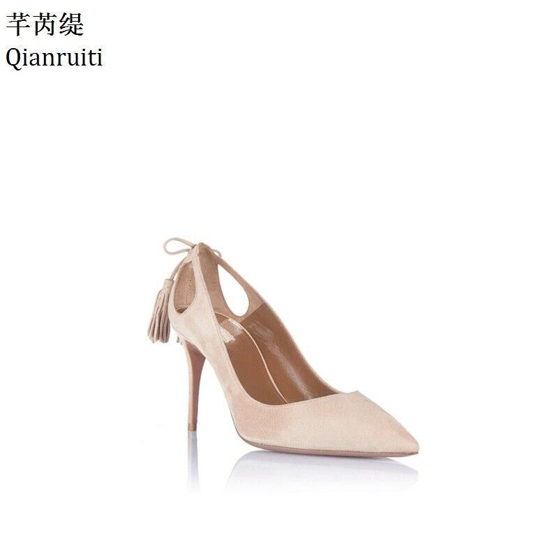 edae4112a9e1 Qianruiti Beige Suede Fringe Heels Women Shoes Sexy Pointed Toe Women Pumps  Kim Kardashian Style High Heels Bridal Wedding Shoes-in Women s Pumps from  Shoes ...