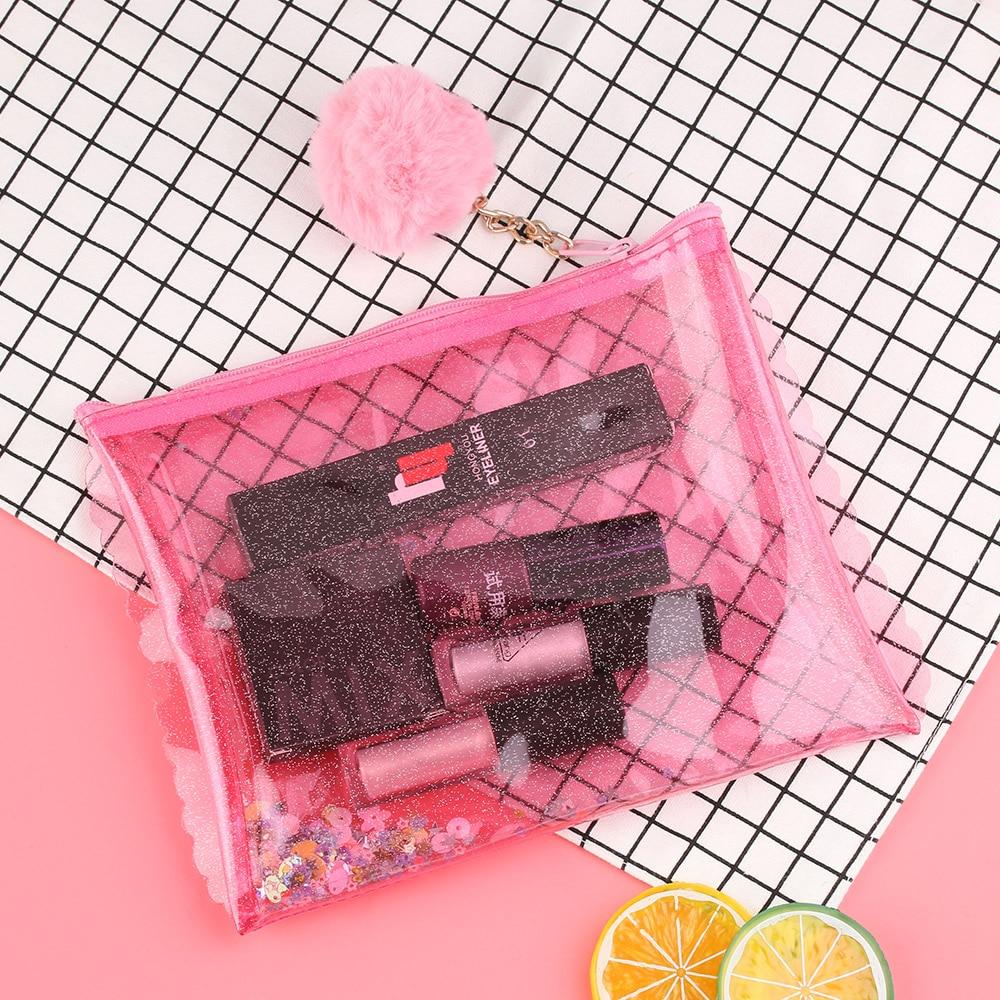 1 St Mode Vrouwen Pailletten Jelly Cosmetische Zak Pvc Transparant Rits Clutch Waterdichte Up Haarbal Handtas Opslag Pakket