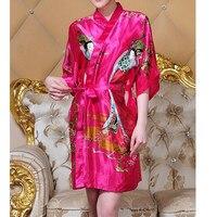 Hot Sale Fashion Hot Pink Ladies Silk Rayon Robe Kimono Bath Gown Nightgown One Size Flower