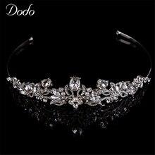 Elegant Crystal Rhinestone plateado Tiara Diadema banda Maravillosamente planta para Nupcial Del Pelo Accesorios de boda regalos HF5