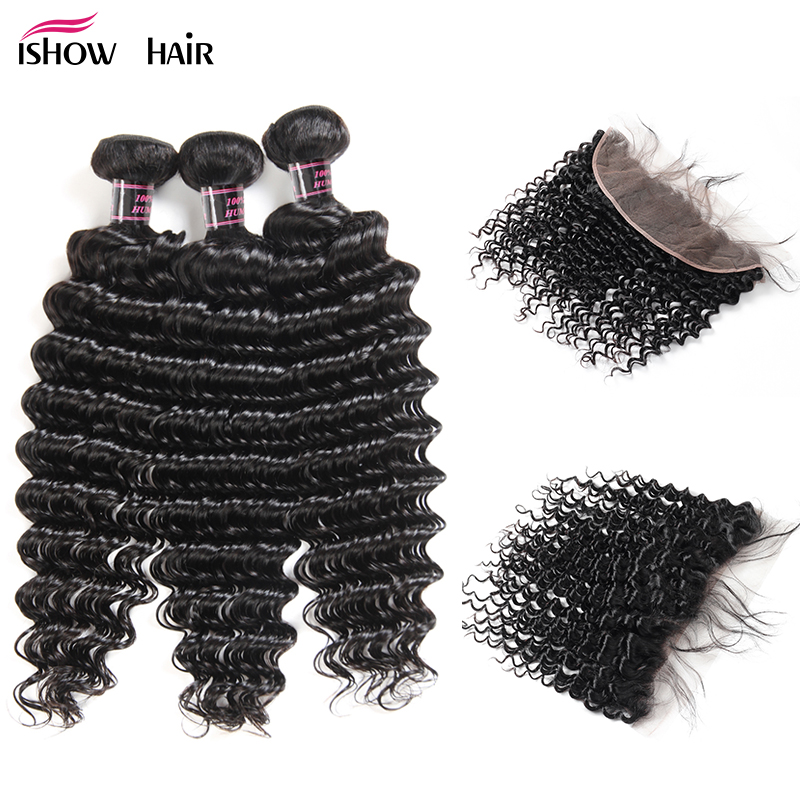 Ishow Deep Wave Bundles With Frontal Brazilian Hair Weave Bundles Human Hair Bundles With Closure Non