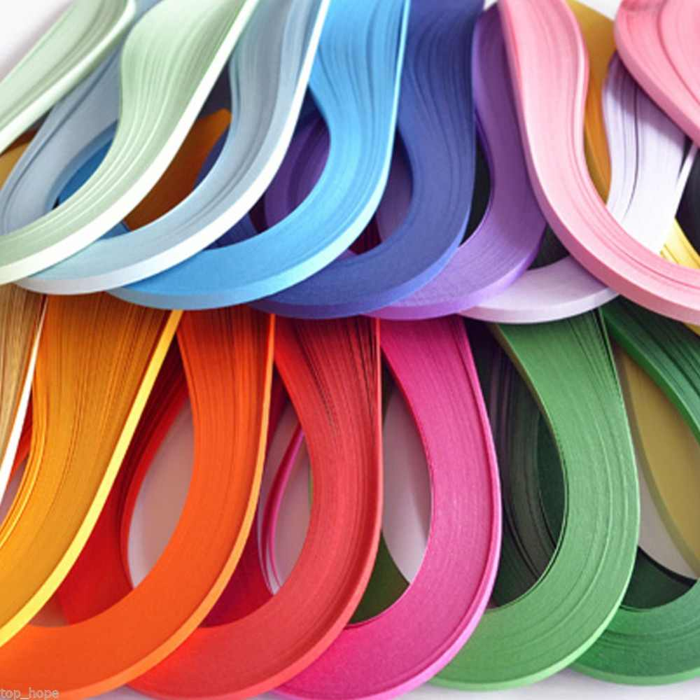 120ลายม้วนกระดาษ5มิลลิเมตรความกว้างสีทึบกระดาษO Rigami DIYมือหัตถกรรมตกแต่งระบายความดันของขวัญ#259127