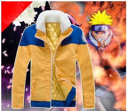 Halloween costumes adult Uzumaki Naruto cosplay costume winter warm jackets men Padded coat