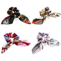 Для женщин большой кишечник волос Веревка цветной геометрический металлической цепью вышивка крестом картины хвост держатель подвеска из
