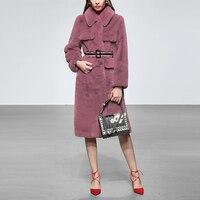 Элитное роскошное имитированное меховое пальто Верхняя одежда 2019 зимнее средней длины Тренч для женщин + ремень