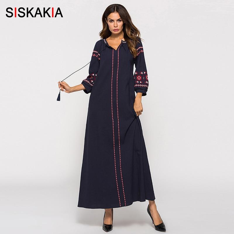 Siskakia Ethnic Vintage Embroidery Maxi Long Dress Autumn 2019 Long Sleeve Dress Urban Casual Women Dresses Fall Female Navy