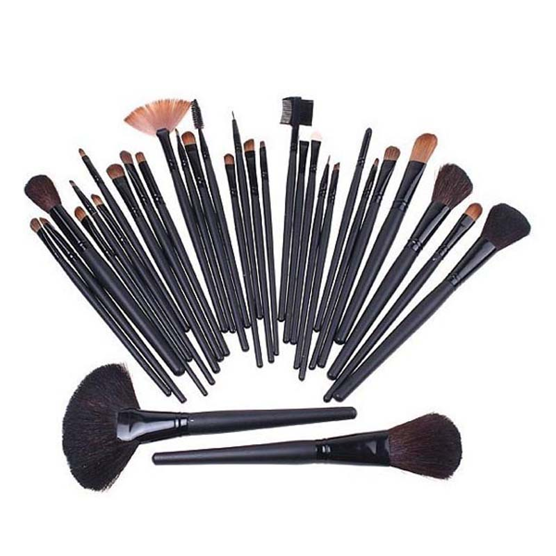 Big discount 32 pcs Professional Makeup Brush Sets Cosmetic Brushes kit + Black Leather Case 80% discount