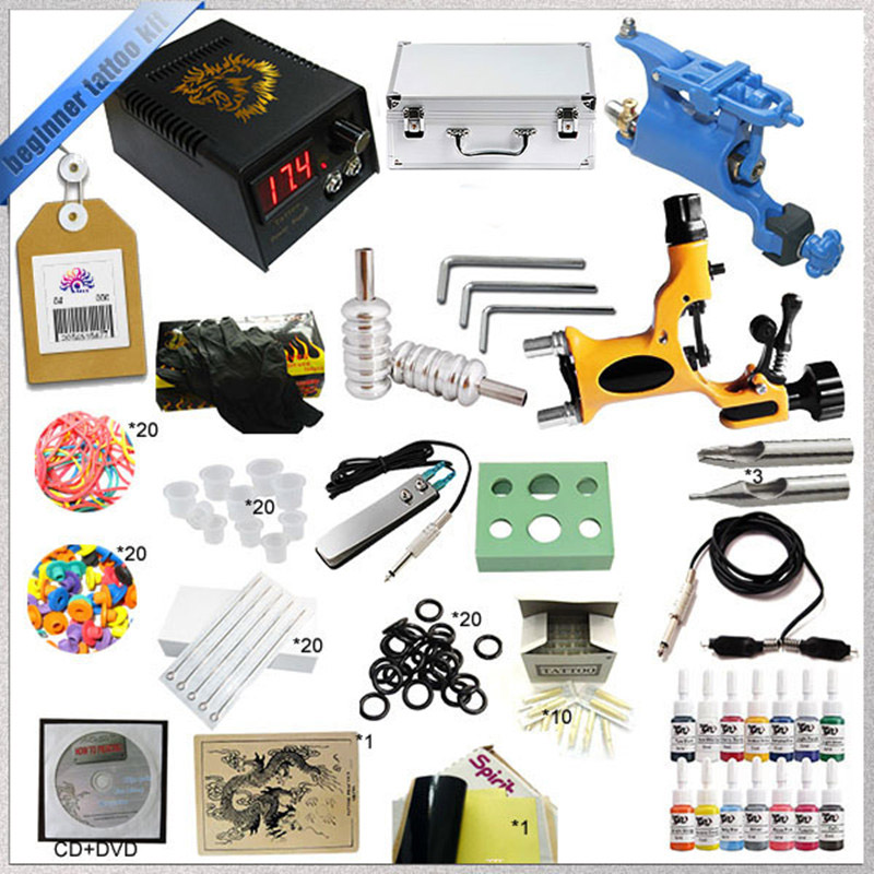 Hot sell starter 2 rotary tattoo kit with teaching CD, Complete tattoo kit with power supply needles inks and tattoo accessories taylor n watts m meet the croods starter level cd